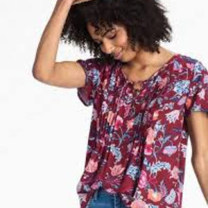 Lucky Brand | Red Floral Peasant Top | Medium